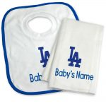 LA Dodgers Personalized Bib and Burp Cloth Gift Set