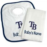 Tampa Bay Rays Personalized Bib and Burp Cloth Gift Set