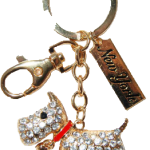 Gold Clear Dog Key Ring with Diamonds & New York Tag