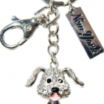 Sitting Dog Key Ring with Clear Diamonds & New York Tag