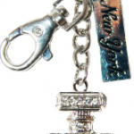 Perfume Bottle Shape Key Ring with Clear Diamonds & New York Tag