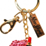 Red Lips Key Ring with Gold Diamonds & New York Tag