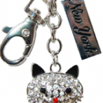 Sitting Cat Key Ring with Clear Diamonds & New York Tag