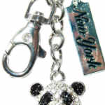 Panda Key Ring with Diamonds & New York Tag