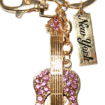 Gold/ Pink Guitar Key Ring with Diamonds & New York Tag
