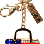 USA Flag Key Ring Bag with Gold Diamonds & New York Tag