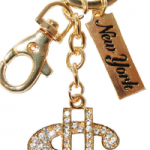 Gold Dollar Sign Key Ring with Clear Diamonds & New York Tag