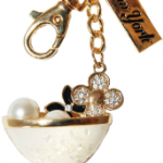 Margarita Cocktail Glass Key Ring with Gold & New York Tag