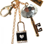 Gold Lock/Key Heart Key Ring with New York Tag