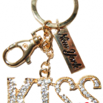Kiss Word Key Ring with Gold Diamond Pink Lips & New York Tag