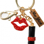 Red Lipstick Shape Key Ring in Gold with Diamonds & New York Tag