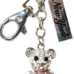Bear Key Ring with Pink Bow with Diamonds & New York Tag