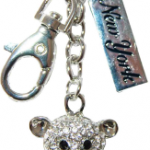 Sitting Bear Key Ring with Red Heart, Diamonds & New York Tag