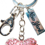 Pink Heart Shape Key Ring with Pink Diamonds & New York Tag