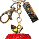 Red Apple Shape Key Ring with Red and Gold Diamonds & New York Tag