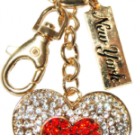 Gold Key Ring Heart with White/Red Diamonds & New York Tag