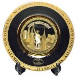 NYC Skyline Black Gold Edged Souvenir Plate – 6 Inch