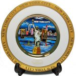 NYC Blue Skyline Gold Edged Souvenir Plate – 6 Inch