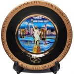 NYC Blue Skyline Black Gold Edged Souvenir Plate – 6 Inch
