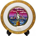 NYC Purple Skyline Gold Edged Souvenir Plate – 4 Inch