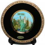 NY Skyline Gold Edged Plate – Chokin Art 8 Inch