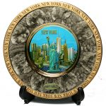 NY Skyline Marble Design Gold Edged Plate – Chokin Art 6 Inch