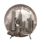 New York Statue of Liberty & Buildings Souvenir Plate- Silver 8″