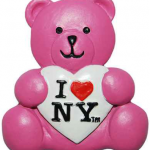 I Love NY Pink/ White Heart Poly Bear Magnet