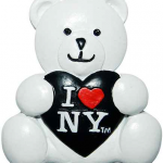 I Love NY White/Black Heart Poly Bear Magnet