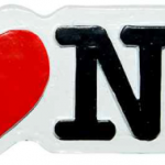 Poly White Shaped I Love NY Magnet