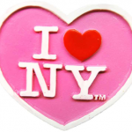 Poly Pink Heart Shaped I Love NY Magnet
