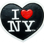 Poly Black Heart Shaped I Love NY Magnet