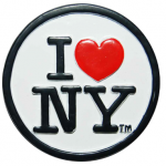 Poly White Circle Shaped I Love NY Magnet