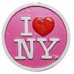 Poly Pink Circle Shaped I Love NY Magnet