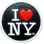 Poly Black Circle Shaped I Love NY Magnet