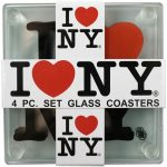I Love NY Glass Coasters (Set of 4)