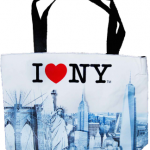I Love NY Beige Skyline Tote Bag with Zipper