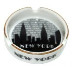 "NYC ""Grey Skyline"" Small Ashtray w/Gold Edge"