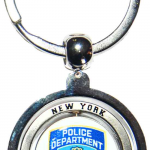 NYPD White Double Sided Spinner Key Ring