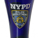 NYPD Cobalt Blue/ Shield Flute Glass