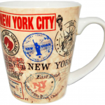 NYC Stamps White Cone Mug
