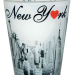 Clear/ Black & White Monuments/NY with Red Heart Shot Glass