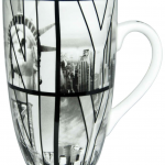 Slim White B&W NY Photo Window Letters Java Mug