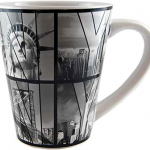 White B&W NY Photo Window Letters Cone Mug