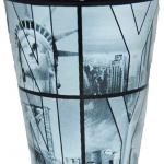 Black B&W NY Photo Window Letters Shot Glass