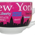 NYC Landmarks Skyline Soup Mug – Pink