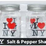 Clear Glass I Love NY Salt & Pepper Shakers 2 Pack