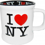 I Love NY White Embossed Mug with Black Inside