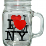 I Love NY Clear 2 Side Decal Glass Mason Mug