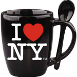 I Love NY Black Mug with Black Inside & Spoon